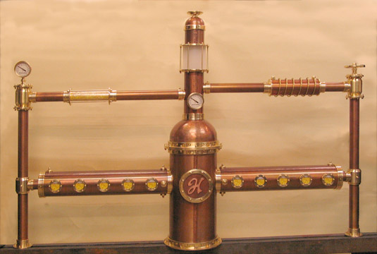 Steampunk copper and brass 30 faucets draft beer tower Bavaria