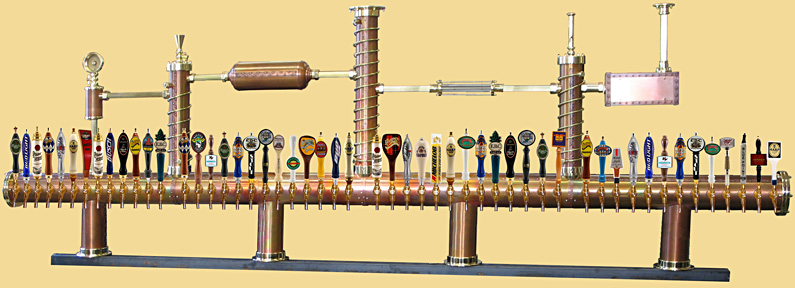 Draft beer tower Berlin, custom made, with 52 faucets.