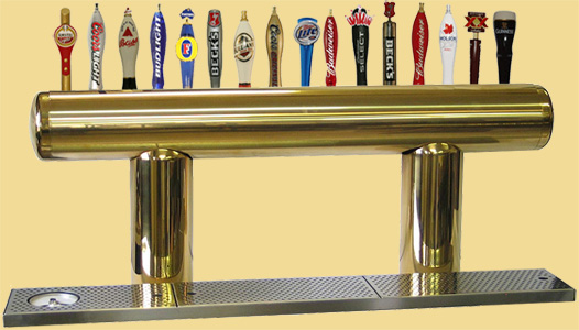 Draft beer tower Pulsar, tarnish free gold, with 16 faucets.